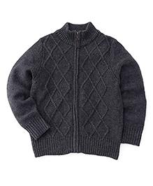Sela Knit Pattern Zippered Cardigan Sweater - Dark Grey