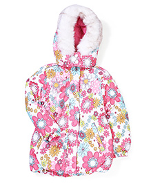 Sela Floral Printed Detachable Hooded Jacket - White & Pink