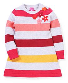 Sela Striped Floral & Star Motifs Sweater - Multi Color