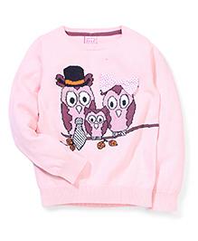 Sela Full Sleeves Owl Family Design Sweater - Pink