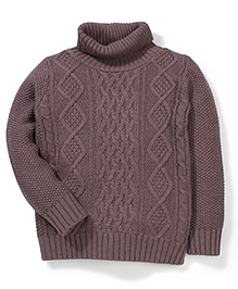 Sela High Neck Knit Pattern Full Sleeves Sweater - Brown