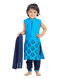 BownBee Cotton Block Printed Kurti Churidaar With Dupatta - Blue