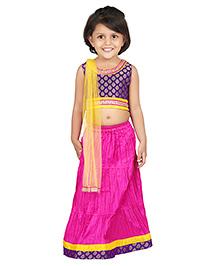 BownBee Sleeveless Choli Lehnga With Dupatta - Pink Blue