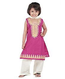BownBee Sleeveless Kurti Salwar With Dupatta Embroidery - Pink White