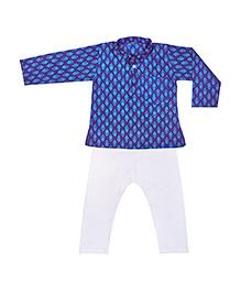 BownBee Printed Kurta Pajama - Blue