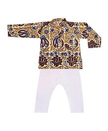 BownBee Printed Kurta Pajama - Brown