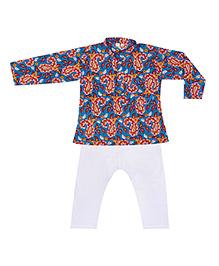 BownBee Full Sleeves Printed Kurta Pajama - Blue