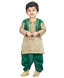 BownBee Kurta And Dhoti Set Embroidery - Green