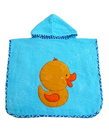 Little Pipal Premium Range Duck Hooded Bath Poncho - Turquoise Blue
