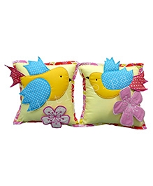Little Pipal Square Cushion Floral Patch Set Of 2 - Yellow