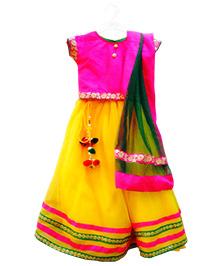 Primrose Lehenga Choli Set - Pink & Yellow