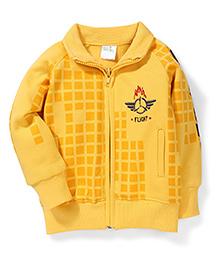 Babyhug Collar Neck Sweat Jacket Checks Design - Yellow