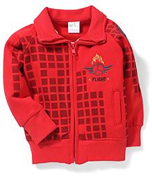 Babyhug Collar Neck Sweat Jacket Checks Design - Red