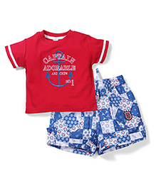 ToffyHouse T-Shirt And Shorts Embroidery - Red Blue