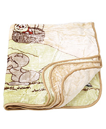 Babyhug 1 Ply Mink Blanket Rabbit & Hot Air Balloon Printed - Green & Brown