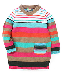 Vitamins Full Sleeves Striped Sweater - Multi Color