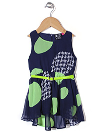 Vitamins Sleeveless Allover Print Frock With Belt - Navy Green
