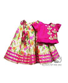 Mimosa Printed Blouse & Lehenga Set - Pink