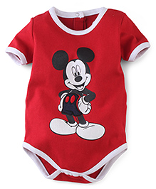 Disney by Babyhug Solid Color With Mickey Mouse Print Onesies - Red