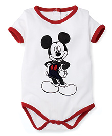 Disney by Babyhug Solid Color With Mickey Mouse Print Onesies - White