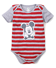 Disney by Babyhug Half Sleeves Onesie Mickey Print - Red and Grey