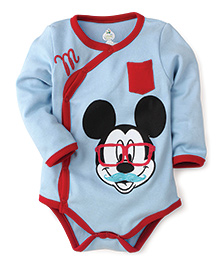Disney by Babyhug Mickey Face Print With Pocket Onesies - Sky Blue