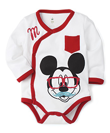 Disney by Babyhug Mickey Face Print With Pocket Onesies - White