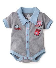 Disney by Babyhug Collar neck Short Sleeves Onesies - Sky Blue & Grey