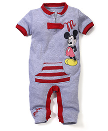 Disney by Babyhug Half Sleeves Romper Mickey Mouse Print - Grey and Red