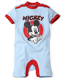 Disney by Babyhug Mickey Print Half Sleeves Rompers - Blue & Red