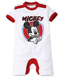 Disney by Babyhug Mickey Print Half Sleeves Rompers - White & Red