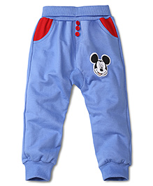 Disney by Babyhug Full Length Lounge Pants With Mickey Patch - Blue