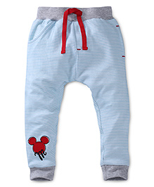 Disney by Babyhug Striped Leggings With Patch - Blue
