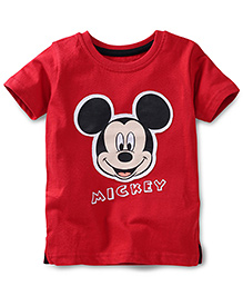 Disney by Babyhug Half Sleeves Mickey Face Print T-Shirt - Red