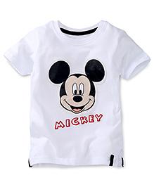 Disney by Babyhug Half Sleeves Mickey Face Print T-Shirt - White