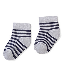 Cute Walk by Babyhug Striped Socks - Grey & Black