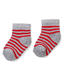 Cute Walk by Babyhug Striped Socks - Grey & Red