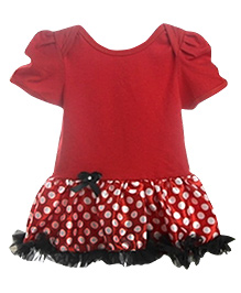 D'chica by Vani & Richa Polka Dotted Little Miss Red Frock Dress - Red