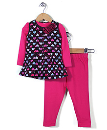 Peppermint Heart Printed Dress With Leggings - Fuchsia Pink