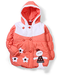Babyhug Hooded Jacket Floral Patch - Peach