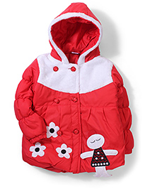 Babyhug Hooded Jacket Floral Patch - Red