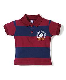 Zero Half Sleeves Striped Polo T-Shirt - Maroon Navy