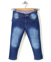 Babyhug Full Length Denim Jeans - Dark Blue