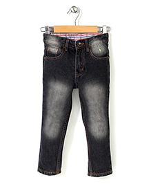 Babyhug Full Length Denim Jeans - Black