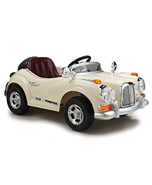 Happy Kids Classic Vintage Ride-On Car With Remote Control - Cream