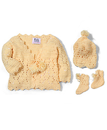 Rich Handknits Sweater Cap And Booties Set - Yellow