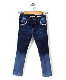 Button Noses Full Length Denim Jeans - Dark Blue