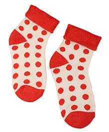 Cute Walk by Babyhug Turn-Over Polka Dot Socks - Coral Red & Off White