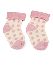 Cute Walk by Babyhug Turn-Over Polka Dot Socks - Light Pink & Off White