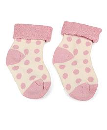 Cute Walk by Babyhug Turn-Over Polka Dot Socks - Light Pink & Off White